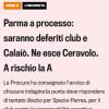 Ufficiale deferimento per tentato illecito sportivo di Calaiò e Parma.
