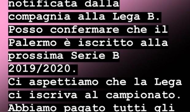 """Tuttolomondo: """"Palermo iscritto , attendiamo conferma Lega"""""""