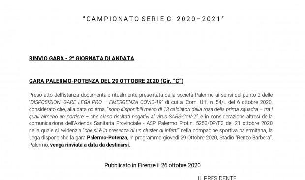 Palermo-Potenza ancora un rinvio